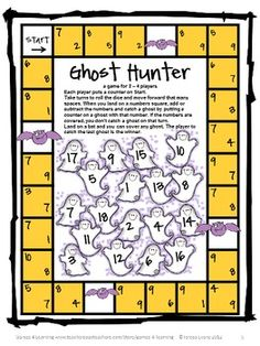 Make them really think with this Halloween math board game. Halloween Math Games, Puzzles and Brain Teasers is a collection of Halloween Math from Games 4 Learning. $