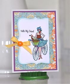 Total cuteness from Charlene! Words and girl are from the Belle on a Bike stamp set from TechniqueTuesday.com.