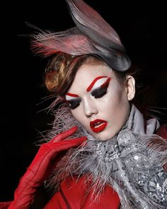 John Galliano's Dior Couture 2011 Collection runway makeup. red eyebrows.......