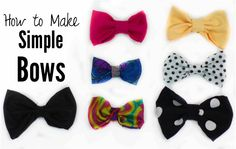 Super simple tutorial for making adorable bows! Great for hair bows, bow-ties, shoe bows, or whatever other kind of bows you might need. :)