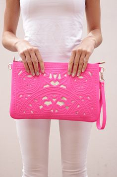 Pink cut out clutch