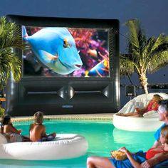 pool+big screen movie=awesomeness