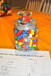 LEGO guessing jar - leading up to next lego club as an advertisement and encourage registration