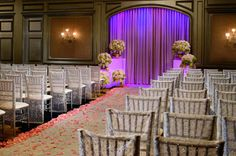 Brides may customize the color of the draperied niches in the Grand Ballroom at The Ritz-Carlton, Atlanta to create beautiful accent walls. The digital color options are almost limitless.