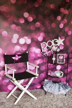 Set the scene for a POP-arazzi dressing room area with this purple bokeh vinyl backdrop from BubblegumBackdrops.com @Bubblegum Backdrops