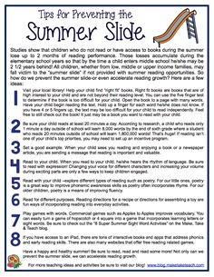 8 ideas for preventing the summer slide.  Free downloadable handout. Great for parent/teacher conferences!