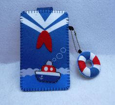 NAVY and lifering felt case  Homeprinted felt by kawaiifeltcrafts, $15.50