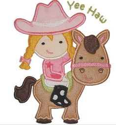 Cowgirl & Horse Applique Iron On