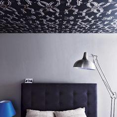 Schlafzimmer mit tapezierte Decke Wohnideen Living Ideas