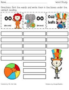 """This circus themed word sort focuses on the diphthongs """"oo"""" (like cook) and """"oo"""" (like boot)."""