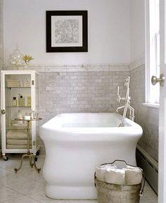 bathroom design, bathroom interior design, modern bathroom, decorating bathrooms, subway tile, tub, bathroom ideas, bathroom cabinets, marbl