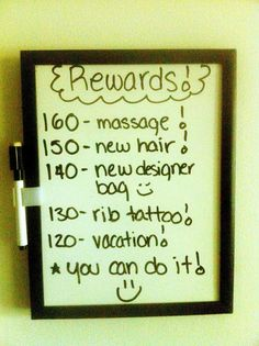 my weight loss rewards. i started a blog to record my journey to a new, better, and happier me. :)