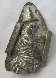 "Anton Reiche Dresden Tin Chocolate Mold - Halloween Witch ""how witches are made"""