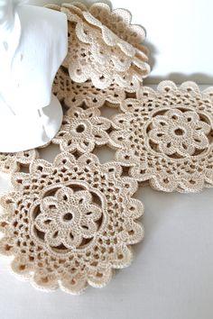 Handmade Doily Set of Four Squares Honey Cream Vintage Thread Doilies.