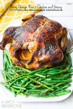 Roasted Chicken Recipe with Honey Orange Gravy and Grilled Spring Veggies