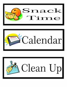 Learning To Be a Mom: Printable Preschool Schedule Cards