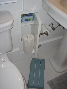 Awesome idea. No more storing the toilet paper in the linen closet!