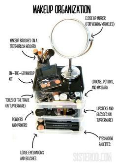 58 ways to organize your entire home! so many cool ways to organize. large and small. apartment or big house. good ideas! Shown: DIY Makeup Organization Placement