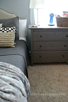 I really like the small dresser for a nightstand.