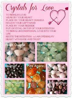 Open your heart and let the love in. Any of these crystals are excellent to help you bring in the perfect partner, heal past wounds and help you love yourself.  www.LaurieBarraco.com