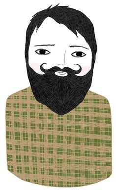 beard illustration *with* plaid.