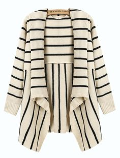 Beige and Black Striped Draped Front Cardigan