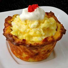 """""""Chicks In A Nest""""... scrambled eggs in a hash brown crust."""