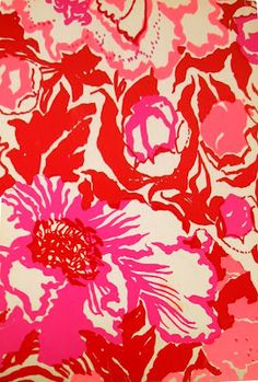 pink + red floral print