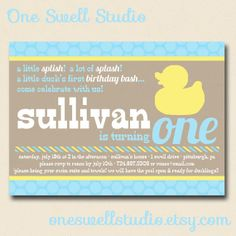 Rubber Duck DIY Printable Invitation  5x7 Format by oneswellstudio, $12.50