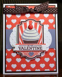 Stampin' Up!  Sweet Cake #125492  Krystal De Leeuw  Valentine Cupcake