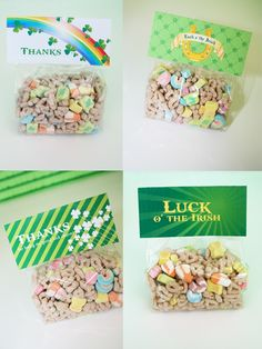 St. Patrick's day favor bags filled with Lucky Charms cereal.