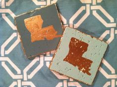 Love these Louisiana coaster sets! Custom ordered hostess gifts in sage, sea foam, and gold by s.bynum art.