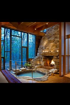 Massive Stone Fireplace.