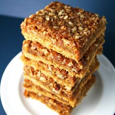 If you're a fan of pecan pie, then you will love these bars. The yellow cake crust gives it a soft baked cookie texture. So good.