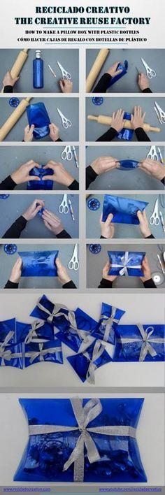 Cómo hacer una caja de regalo con una botella de plástico reciclado