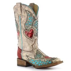 Corral Women's Wing & Heart Square Toe Boots