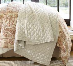 Diamond Linen Quilt & Shams   Pottery Barn