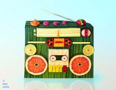 Bio-Degradable Cassette Player make art, food sculpture, dan cretu, digital art, radio, artist, foodart, food photo, food art