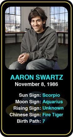 Celeb #Scorpio birthdays: Aaron Swartz's astrology info! Sign up here to see more: https://www.astroconnects.com/galleries/celeb-birthday-gallery/scorpio?start=90  #astrology #horoscope #zodiac #birthchart #natalchart #aaronswartz