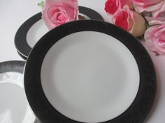 Vintage Noritake Sharon Black White Floral Bread & by thechinagirl, $24.50