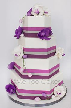 Purple wedding cake by Me Too Cakes