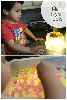 DIY mini light table or light box tutorial for sensory play