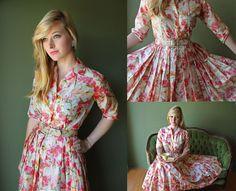 Pink Floral Tea Party Dress. floral tea, tea parti, party dresses, dress pink, 1950s dresses, parties, vintag 1950s, pink floral, parti dress