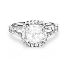 2 ct Cushion Cut Split Shank Engagement Ring