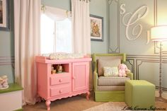 LOVE the pink changing table!