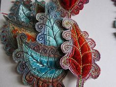 Create beautiful leaves and flower heads from fabric scraps to make brooches and other jewellery