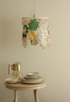lamp made w old doilies