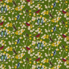 green echino birds and berries canvas fabric cherry 2