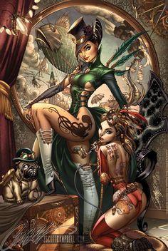 Steampunk - line art: J. Scott Campbell, color: Nei Ruffino