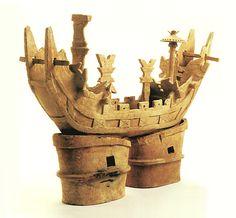 The Kofun period art, Haniwa terracotta clay figure. Mie Japan.  A ship of the King. The early 400s.